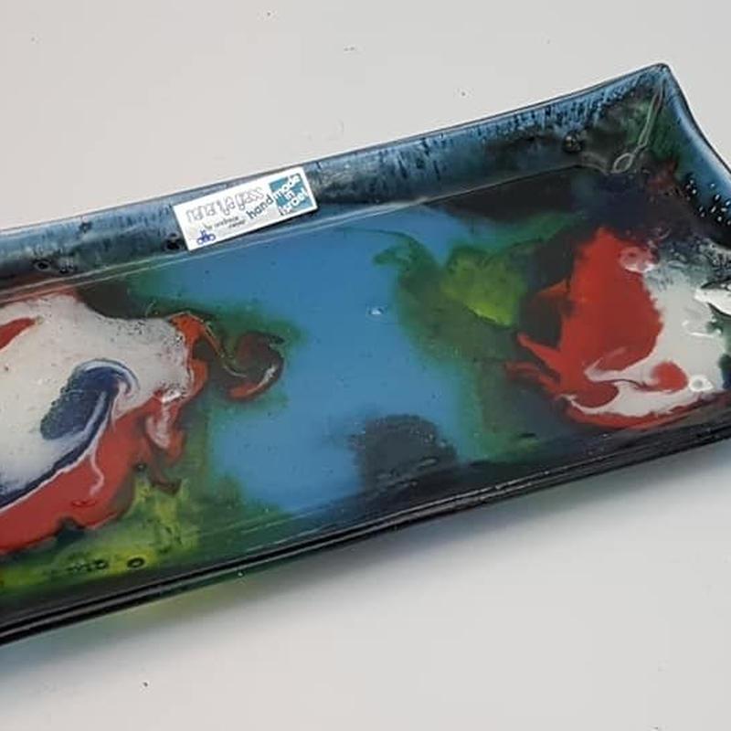 """イスラエル製 """"Nahariya Glass""""アートグラスプレート GR003"""
