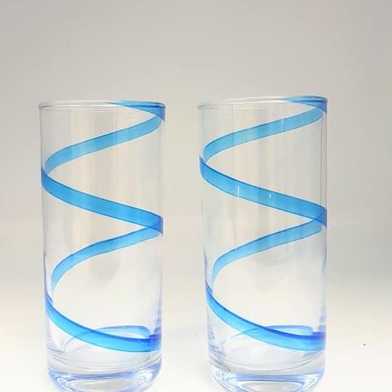 イタリア製 スパイラルデザイン タンブラーグラス2客