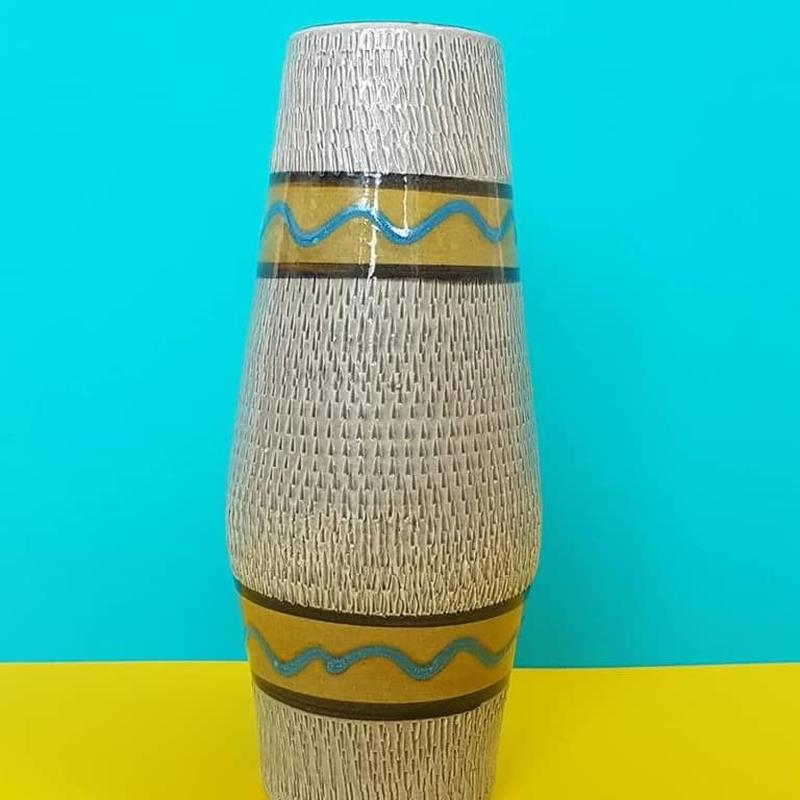 1950's Bay keramik イエロー×ターコイズブルーベース/WK067
