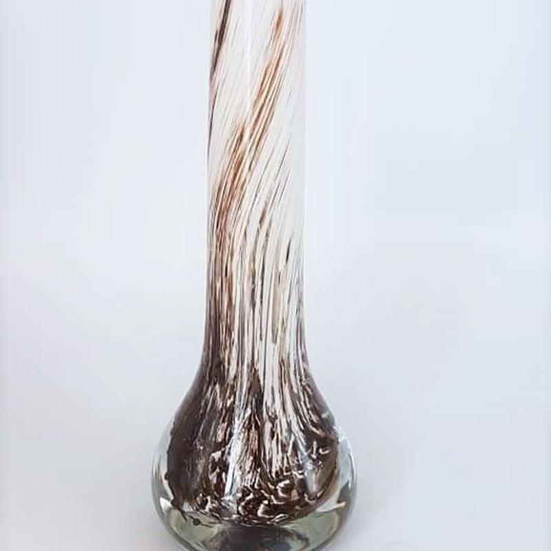 1960's~70's Opaline Fiorentina製 ブラウン×ホワイト ムラーノグラスベース/ GR038