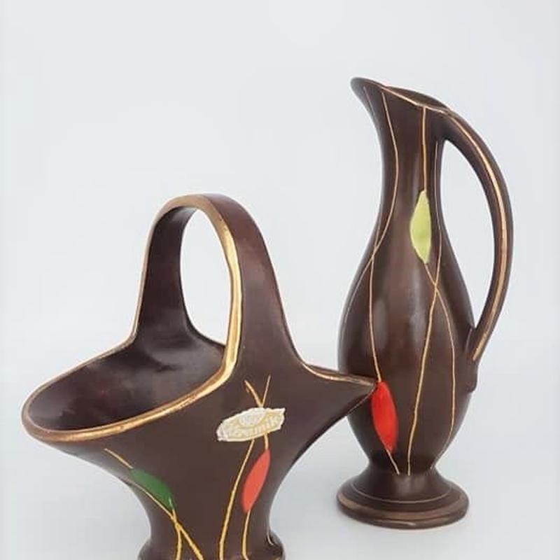 1950's Bay keramik ハンドル付きトレイと花瓶二つセット /WK073