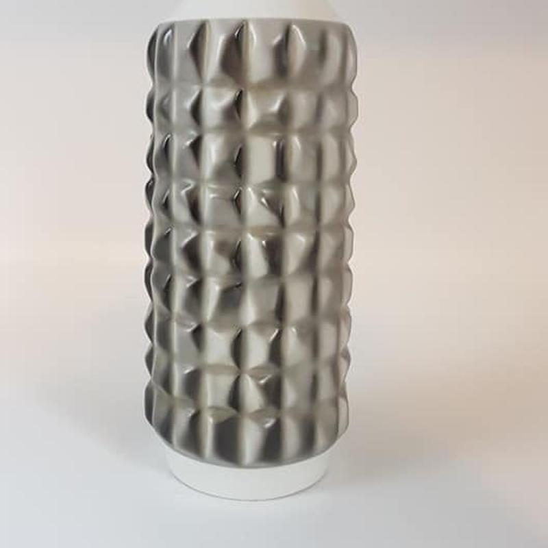 1960's 東ドイツWKCG社製 グレー×ホワイト 花瓶  DK020