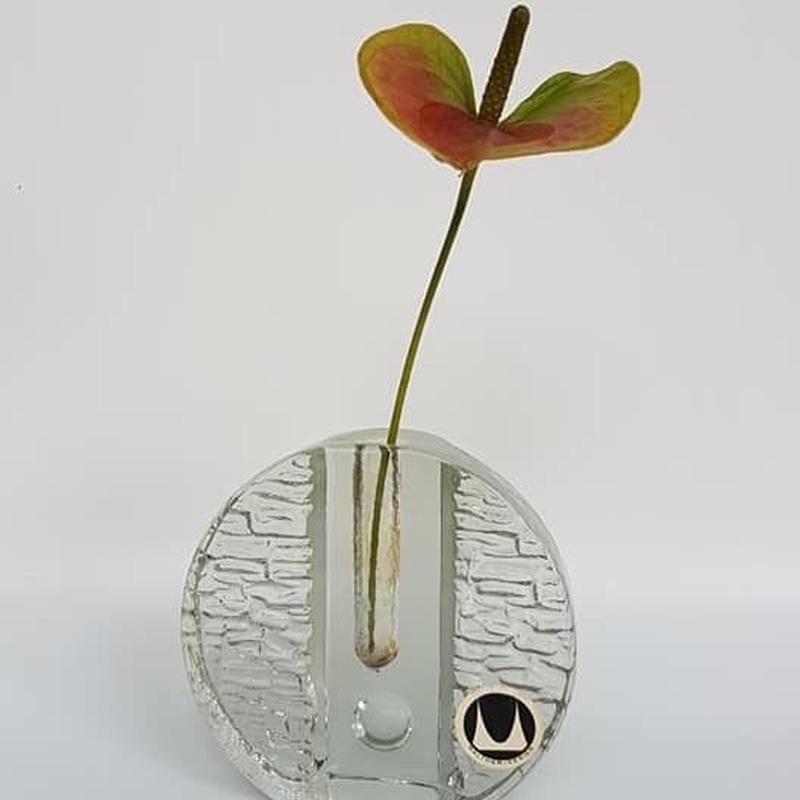 1960's~70's Waltherglass社製 OPアート ガラス製の一輪挿し G(round) 大/GR039 **小さな傷アリ
