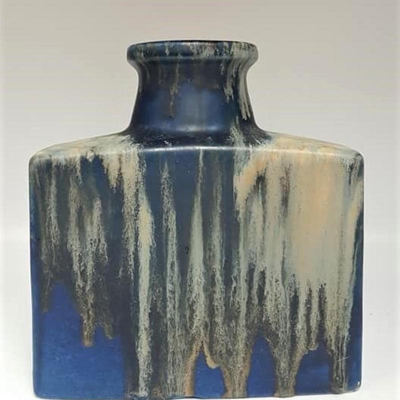 1960's scheurich製 ブルー×ホワイト fat lavaスクエアベース/WK062