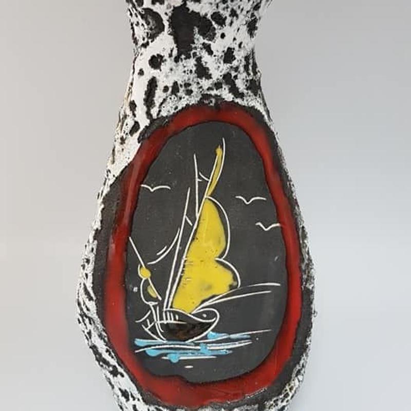 1950's~60's サンマリノ marmaca社製(?) イタリアン・ファットラヴァ花瓶 DK013-2