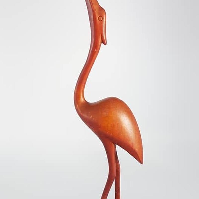 1950's デンマーク製チークウッドバードフィギュアA(写真右側・big)**色剥げアリ