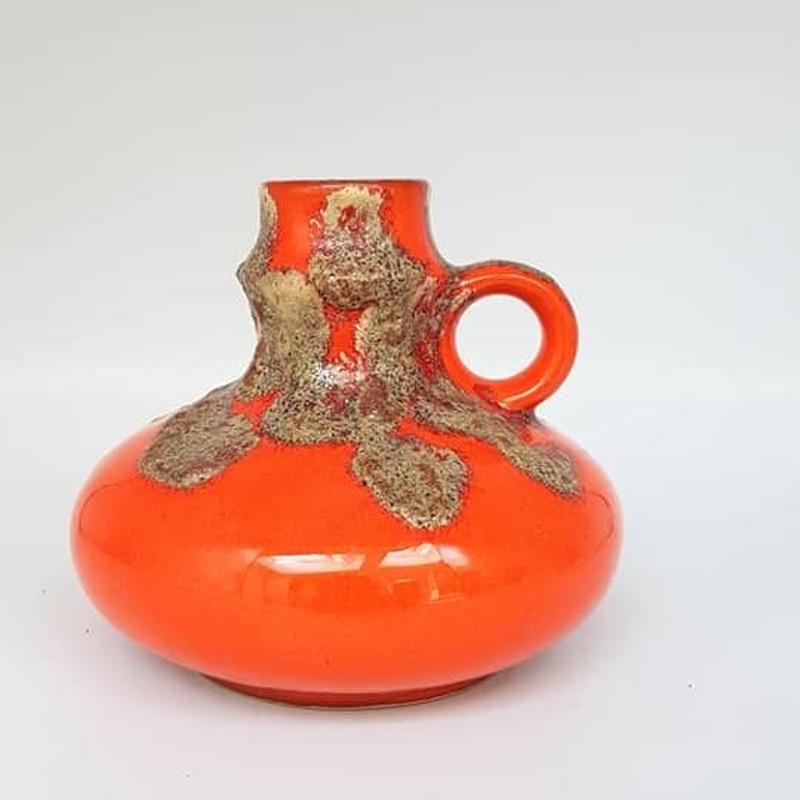 1960's~70's 西ドイツJawe keramik オレンジfat lave ベース /WK081