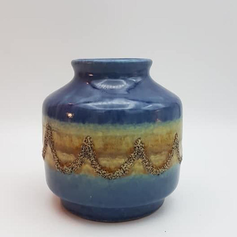 1960's GDR/ DDR  VEB haldensleben製 fat lava 花瓶 ブルー×イエロー  DK011