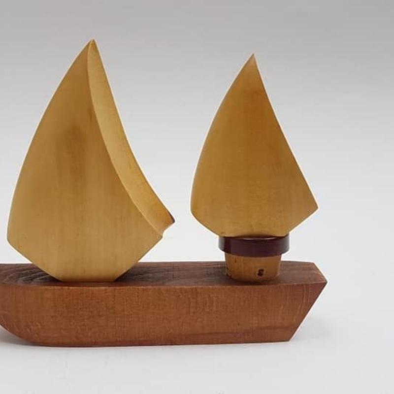 1960's チーク材/木製船の形の ワインオープナーとコルク栓セット  /DG007