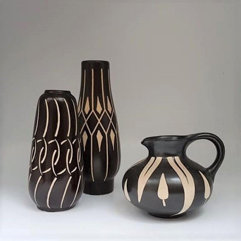 1960's PIESCHE & REIF 東ドイツ Studio Ceramic ズグラッフィートべース 3つセット