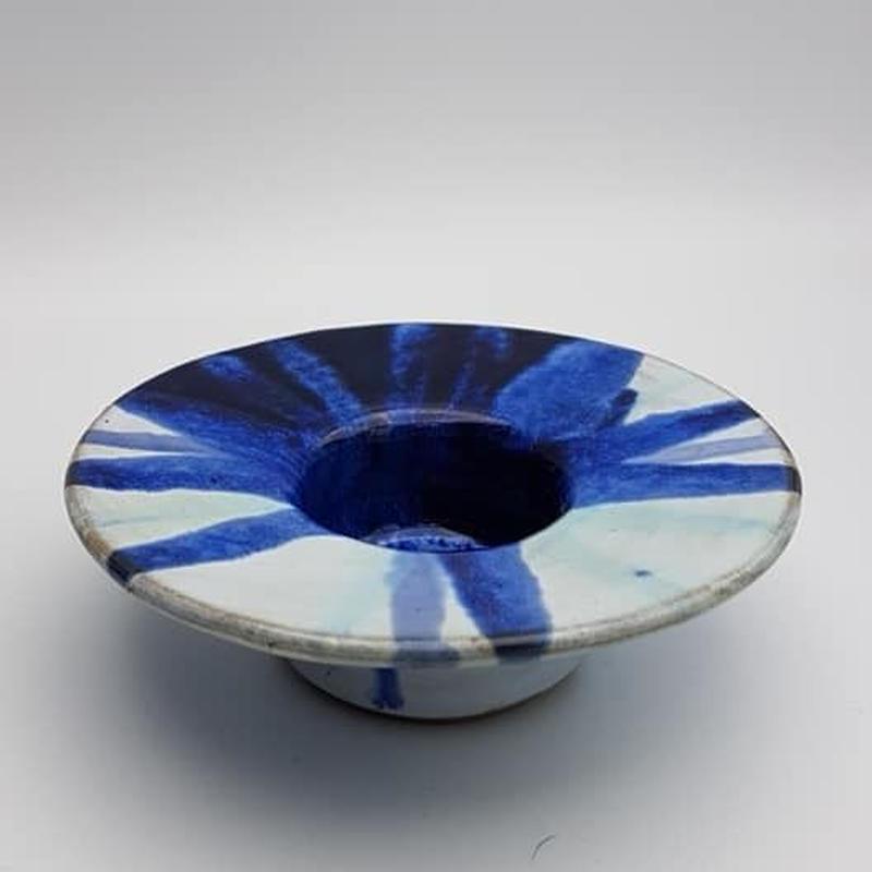 ドイツ製/作家もののキャンドルホルダー ブルー×ホワイト WK009-2