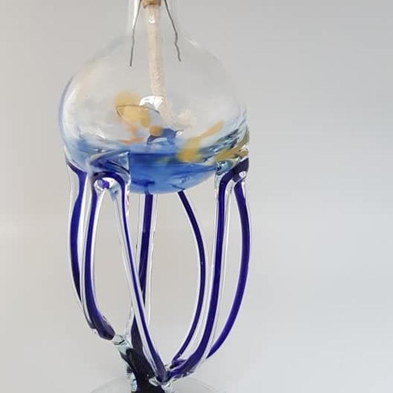 1960's ドイツ製アートグラス・職人手作りオイルランプ GR004