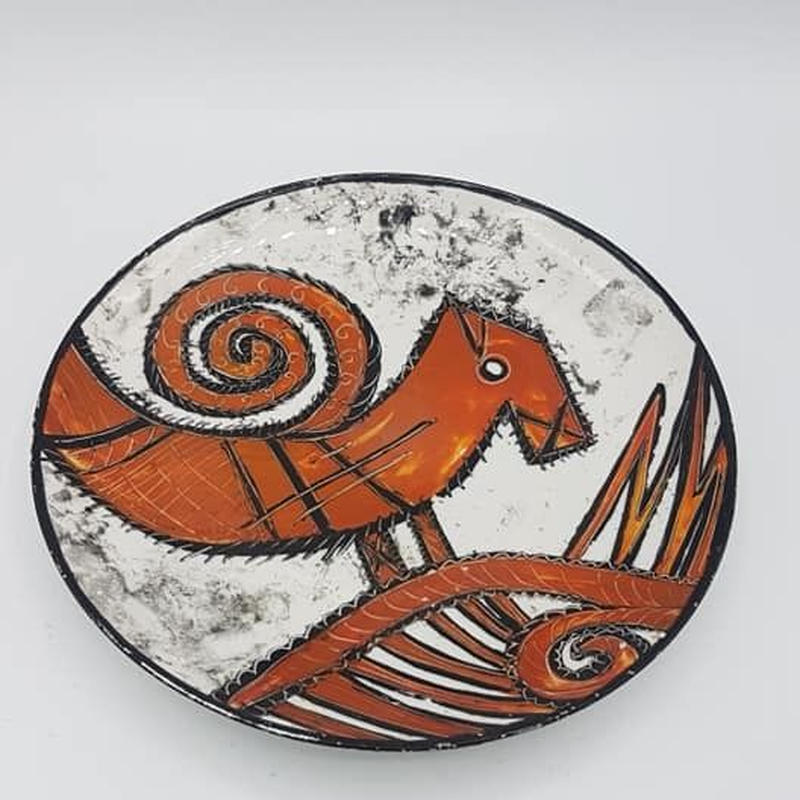 バードモチーフの壁掛け用飾り皿 WK012-2