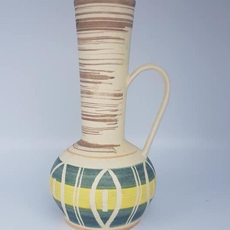 1950's Fohr keramik イエロー×グリーン 取っ手付きベース/WK071