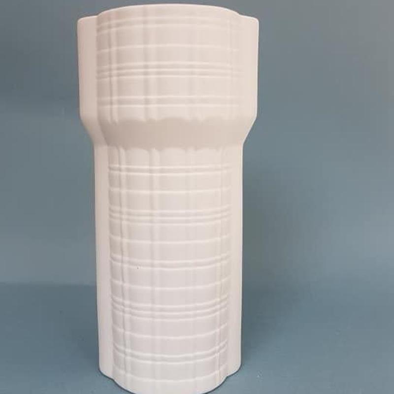1960's 西ドイツ PMR Bavaria製 OPアート白磁のベース/WK092