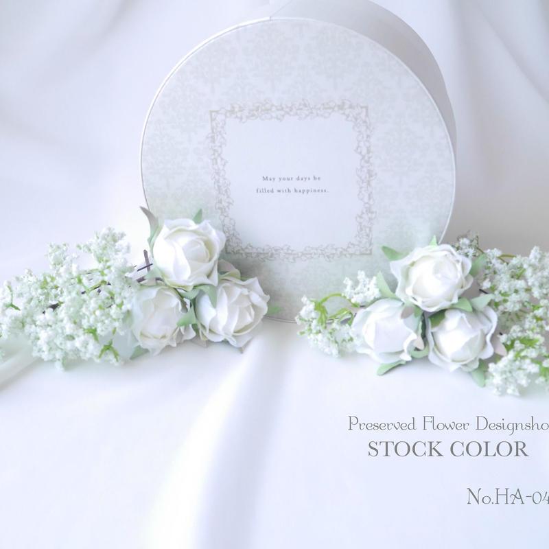 ミニローズとかすみ草のヘッドドレス/ヘアアクセサリー*結婚式・成人式・ウェディングドレスに