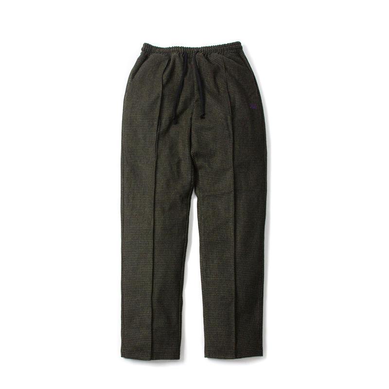 FUZZ HOUNDSTOOTH WOOL PANTS / BLACK,OLIVE ファズ ウールパンツ
