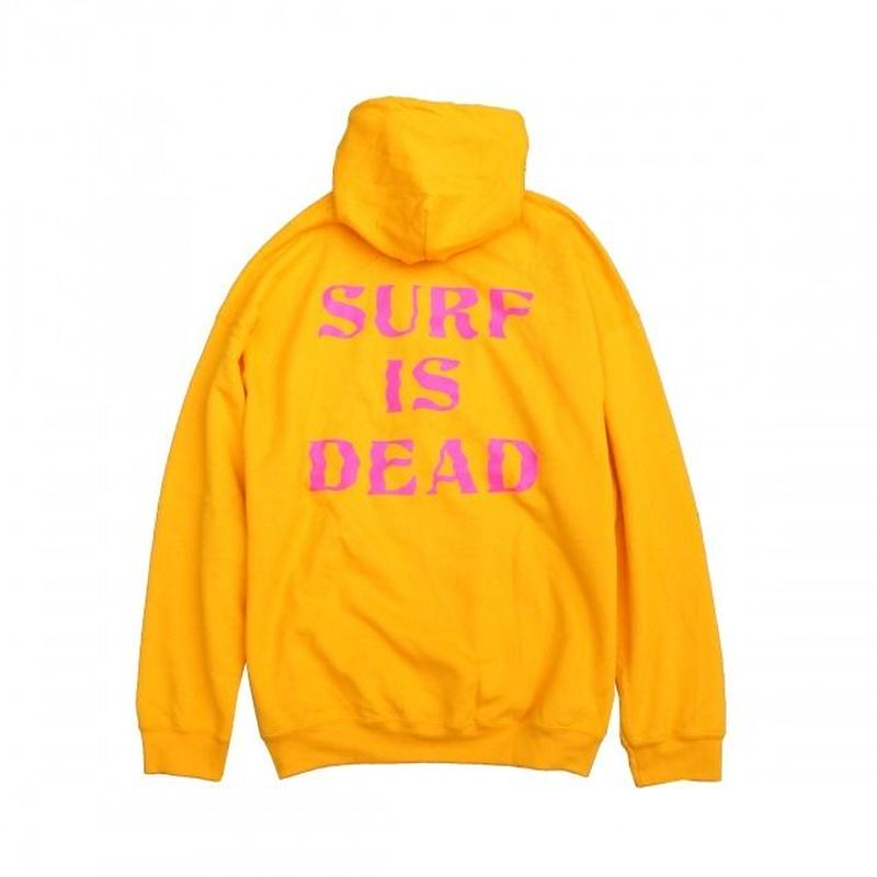 SURF IS DEAD WAVY DAYS HOODIE<LEMON CURRY>サーフイズデッド