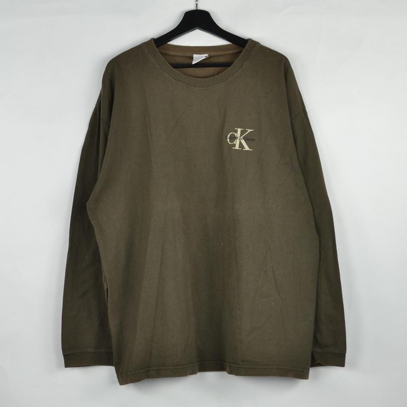 CALVIN KLEIN / L/S T-SHIRTS(USED) COL:KHAKI NO.46