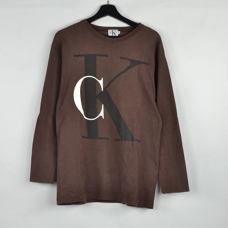 CALVIN KLEIN / L/S T-SHIRTS(USED) COL:BROWN NO.45