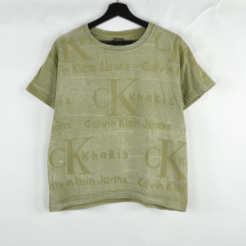 CALVIN KLEIN / S/S T-SHIRTS(USED) COL:KHAKI NO.49