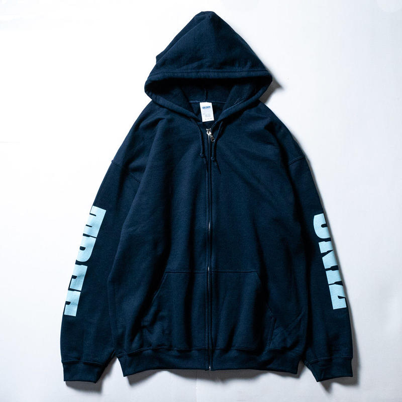 7INCTREE LOGO zip hoodie (Navy × Carolina)