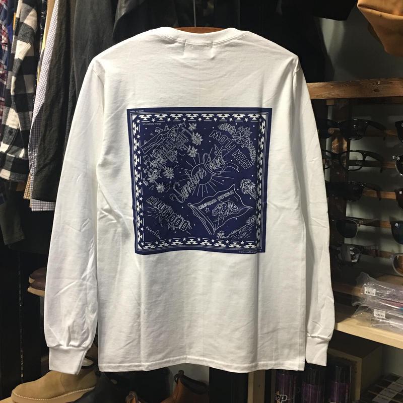 (イーブンフロウ)EVENFLOW BANDANA L/S TEE バンダナ柄 長袖Tシャツ ロンティー (EFL-1004-WH)