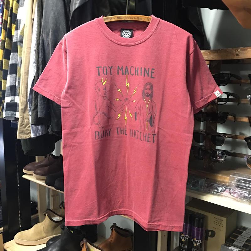 (トイマシーン)toy machine '19年春夏新作 BURY THE HACHET ピグメント加工 半袖Tシャツ (TMS19ST18-RED)