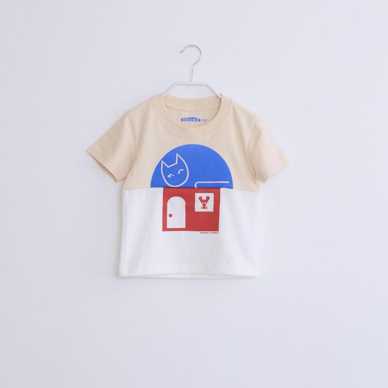 KIDS / tupera tupera ×STORE 家 T -シャツ  / 柄・ネコネズミハウス・ col ライトベージュ×バニラ