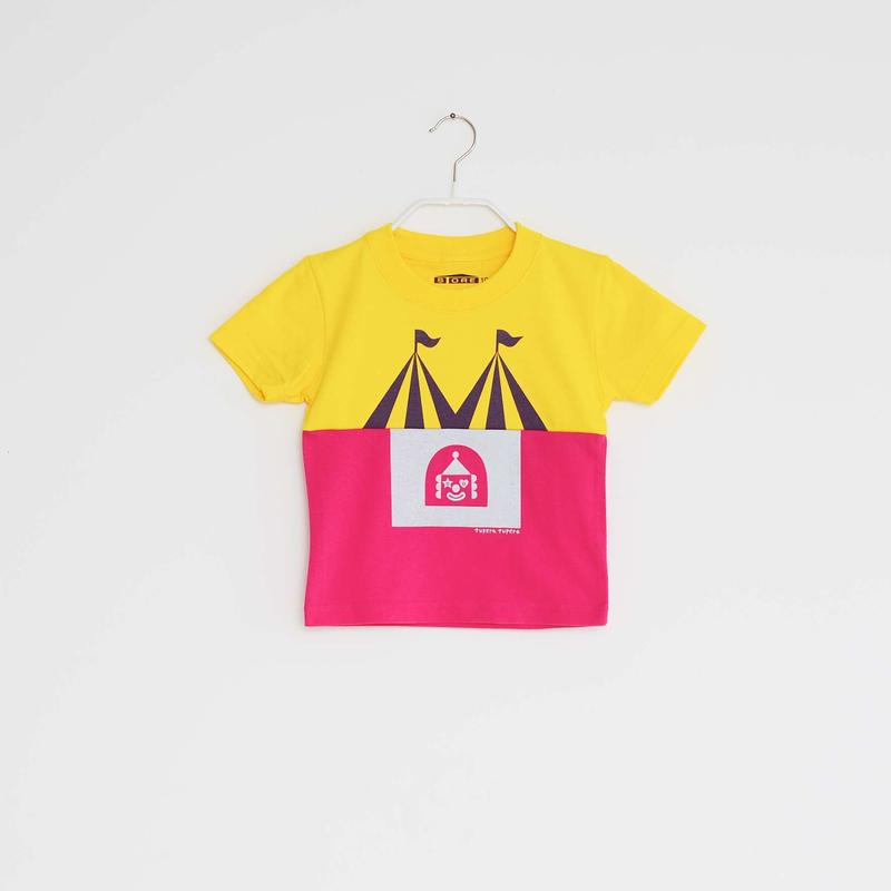 KIDS / tupera tupera ×STORE 家 T -シャツ  / 柄・サーカス・ col・カナリアイエロー ×トロピカルピンク