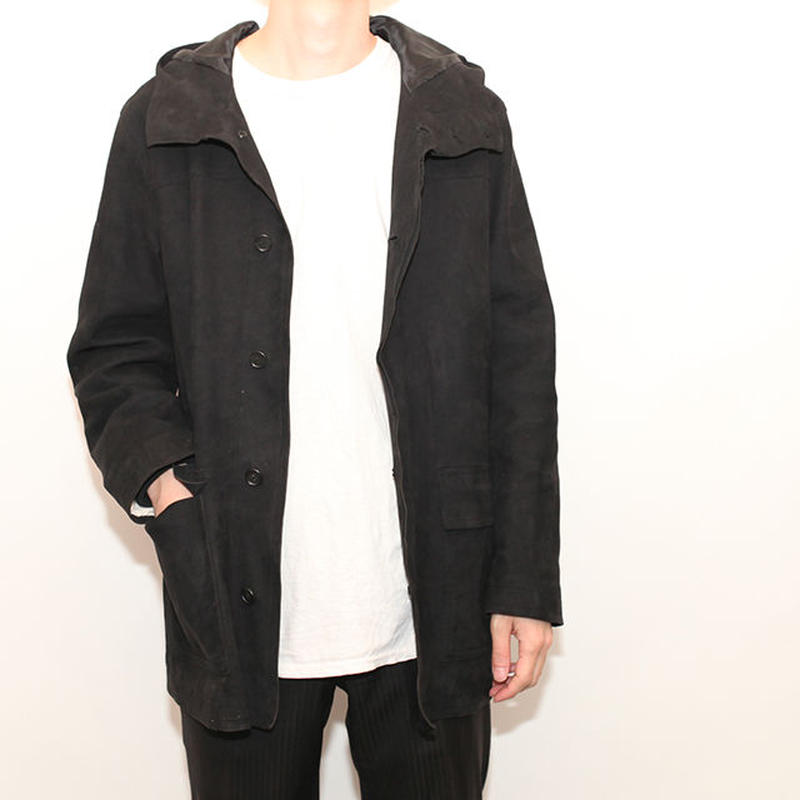 Hooded Suede Leather Jacket