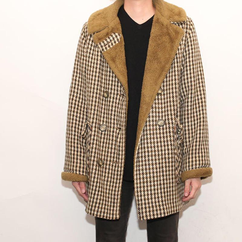 Vintage Houndstooth Check Coat