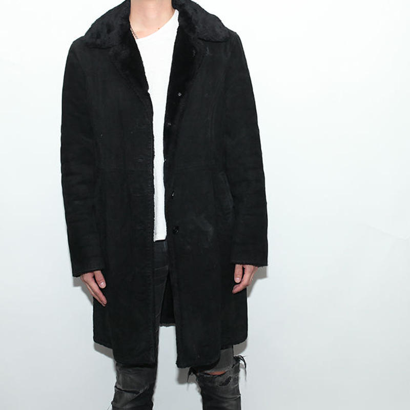 Black Suede Boa Coat