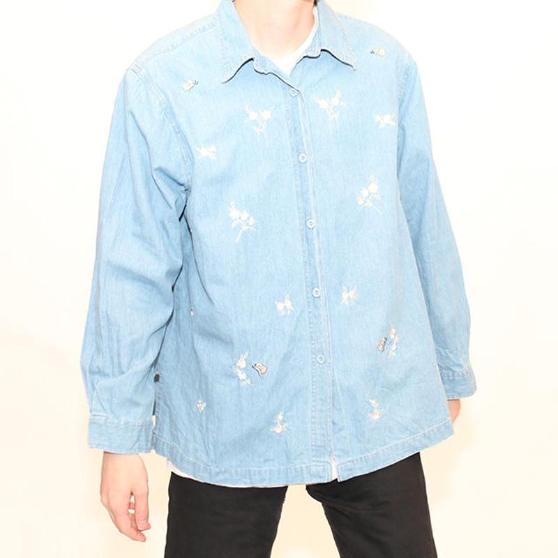 Denim Embroidery L/S Shirt