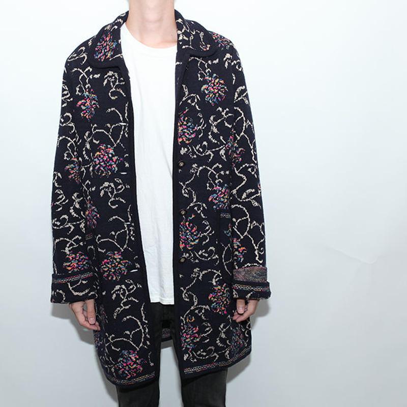 Flower Design Wool Coat