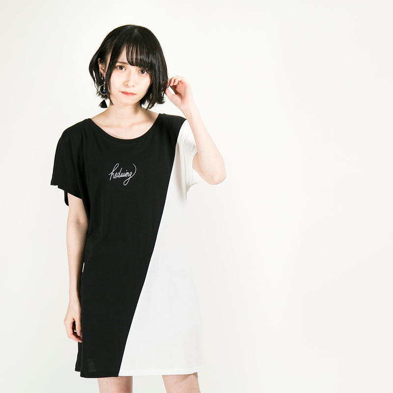 """HEDWiNG ワンピース """"Crosscut Onepiece"""" / BLACK-WHITE"""