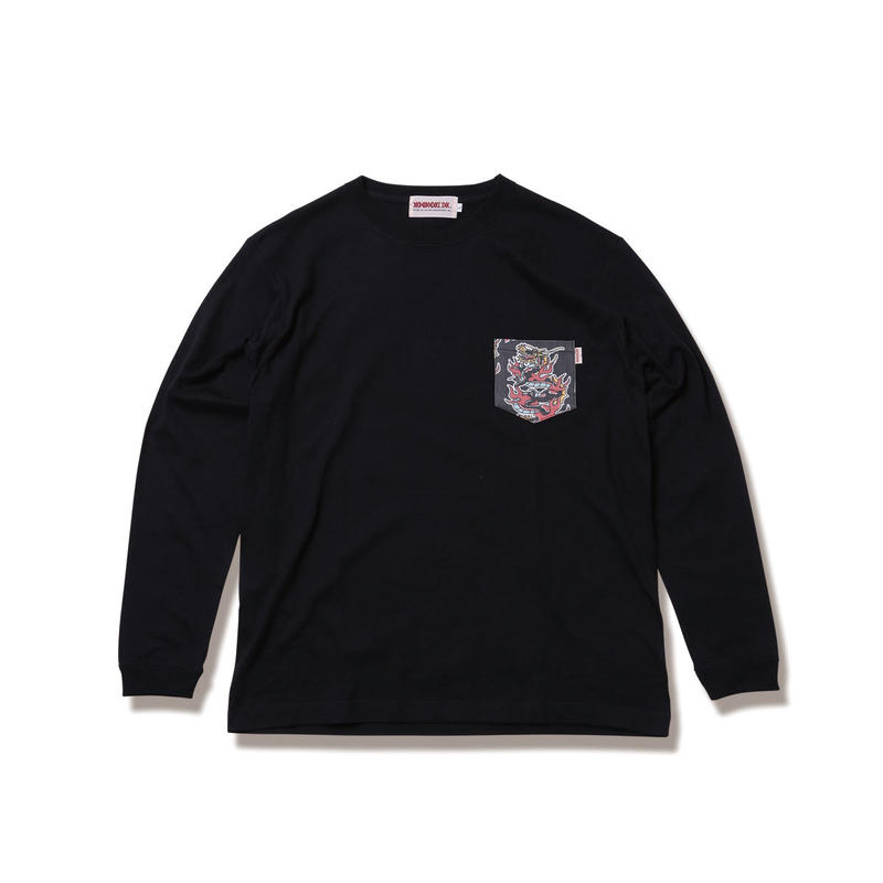"ANIMALIA ロンT ""DRAGON -Pocket L/S"" / BLACK"