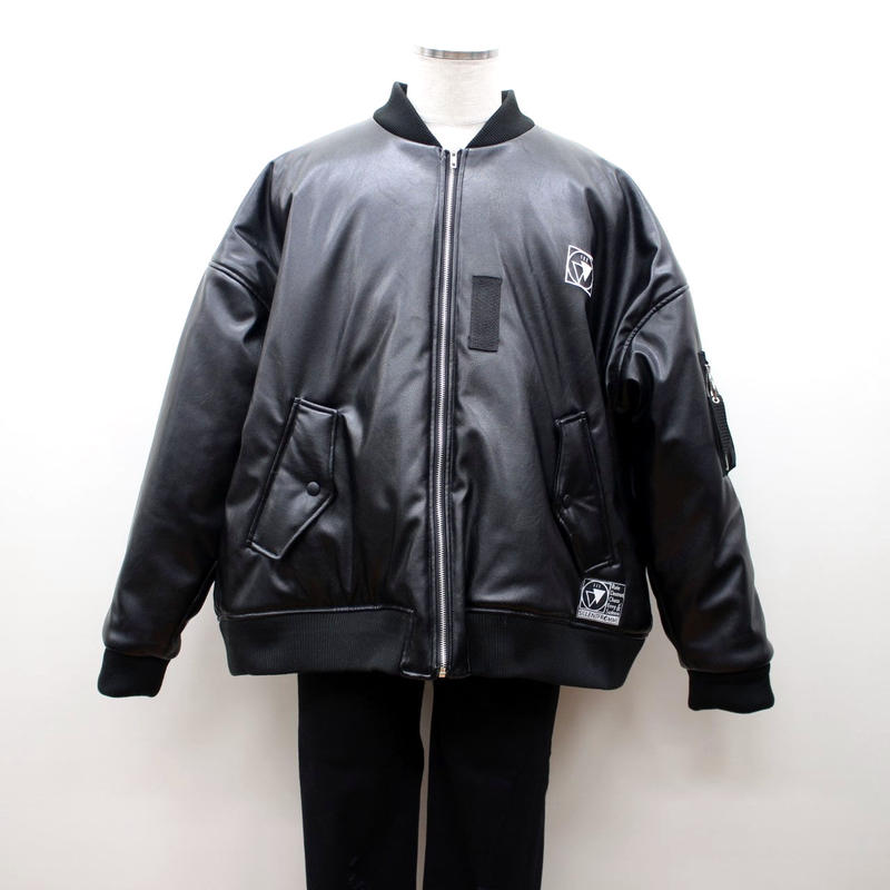"SILLENT MA-1ジャケット ""NOCTURNE -Leather Flight Jacket-"" / BLACK-WHITE"