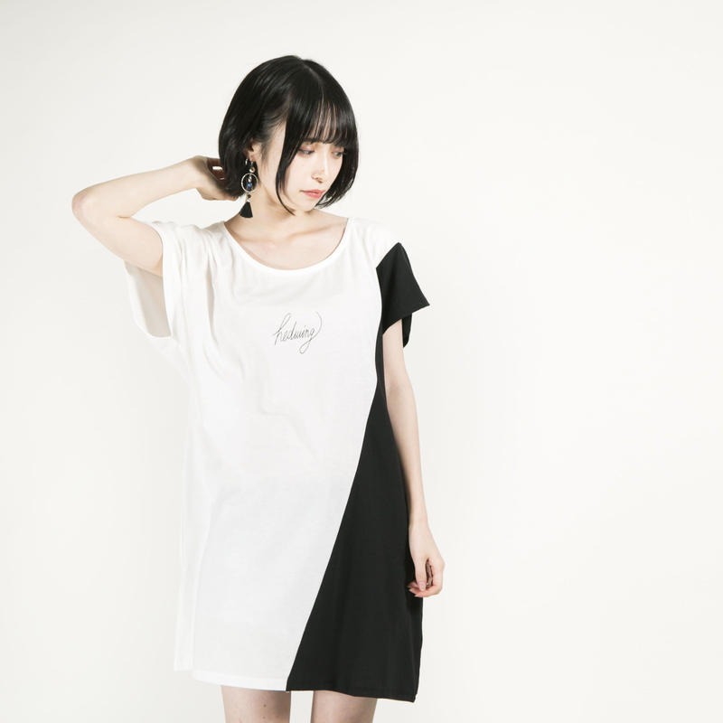 """HEDWiNG ワンピース """"Crosscut Onepiece"""" / WHITE-BLACK"""