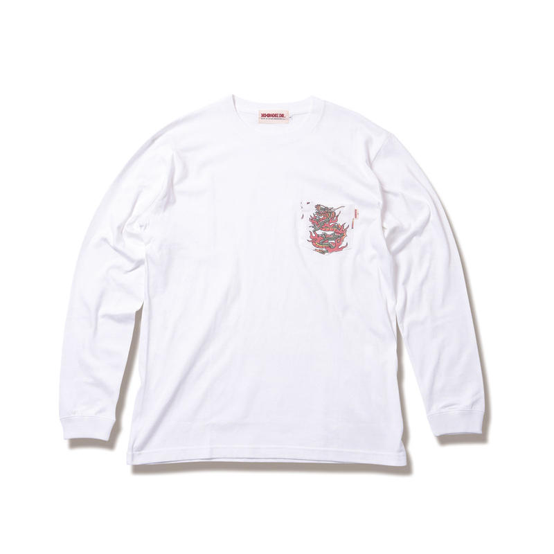 "ANIMALIA ロンT ""DRAGON -Pocket L/S"" / WHITE"