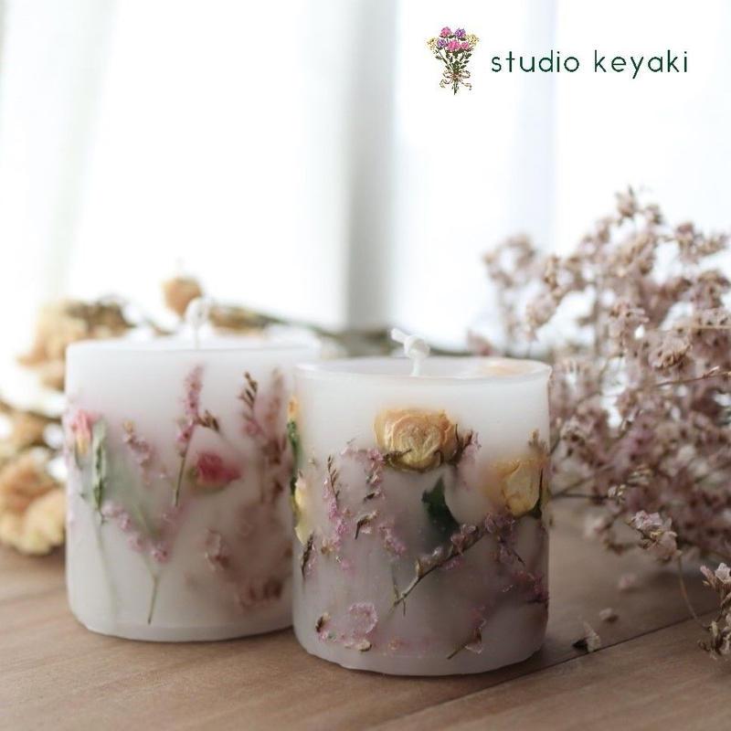 桜色のボタニカルキャンドル*2色から選べます<ラッピング無料>