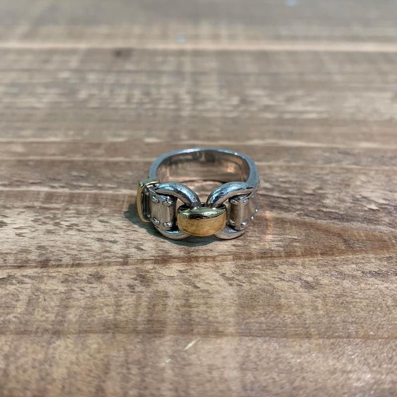 Hermès Vintage(エルメス ヴィンテージ) Sterling Silver & 18k Gold Ring【VH21】(N)