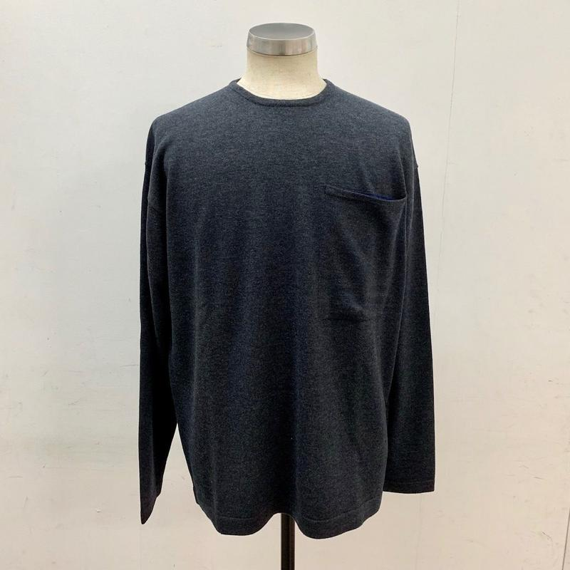 CREPUSCULE クレプスキュール POCKET L/S KNIT C.Gray【1703-006】(N)