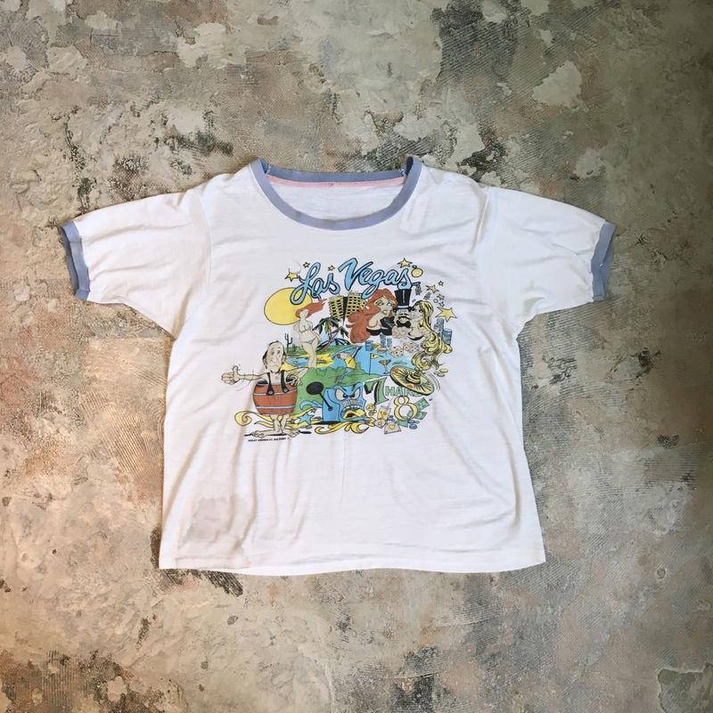 【PIGU HOUSE  VINTAGE】リンガーTシャツ ラスベガス【No,109】
