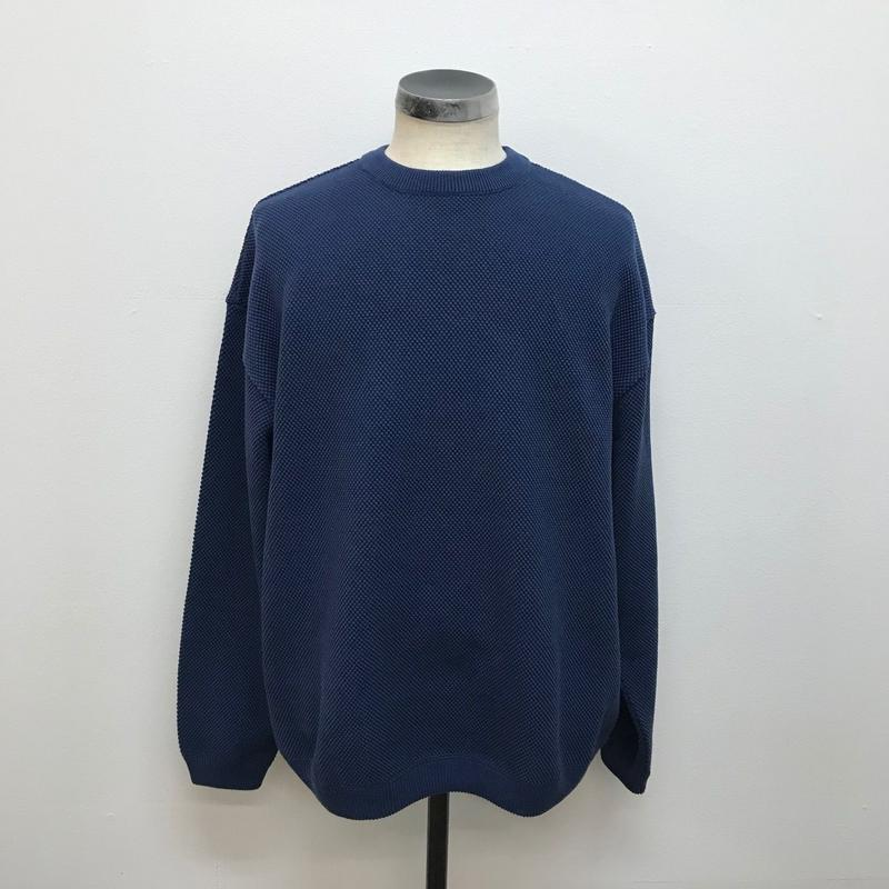 CREPUSCULE クレプスキュール  MOSS STITCH L/S SWEAT  Blue(N)