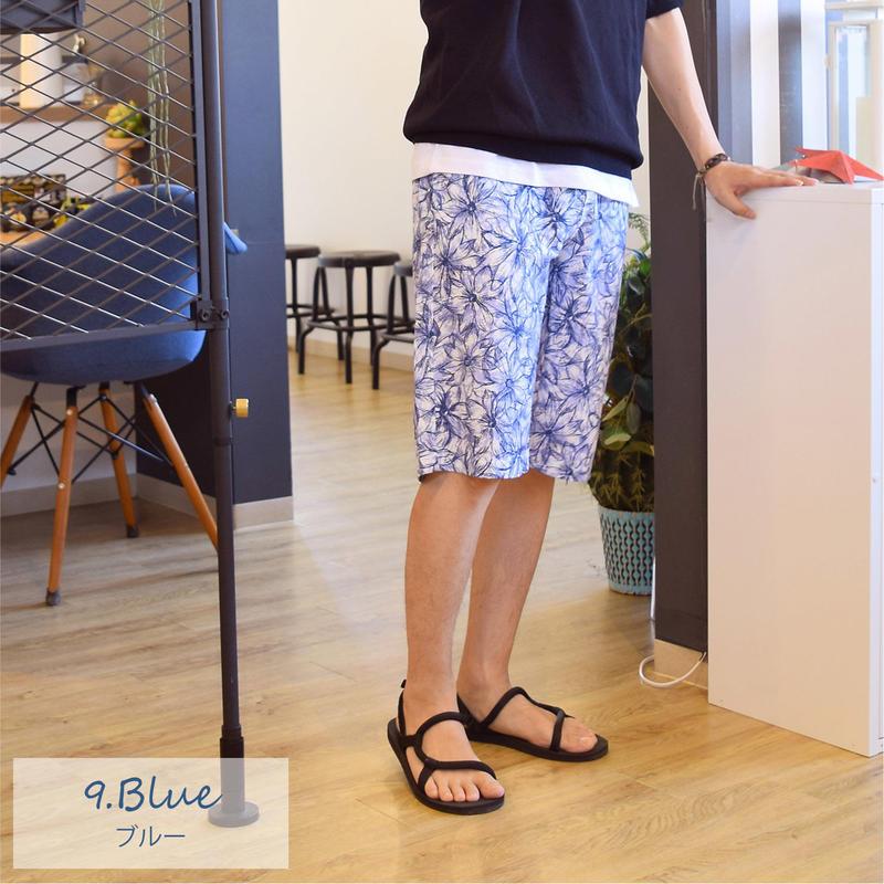 ミニ裏毛裏使い ボタニカルプリント ウエストリブ ショートパンツ 9253-502 09.ブルー