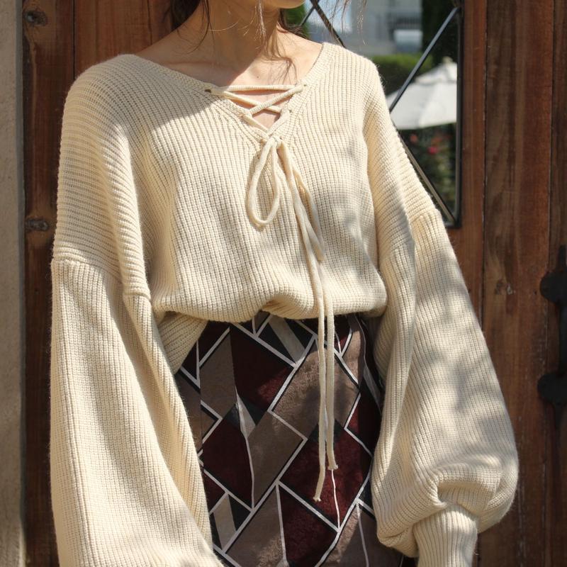 ボリュームスリーブクロップドセーター