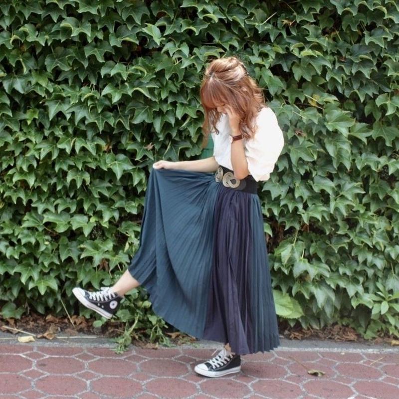 バイカラープリーツロングスカート