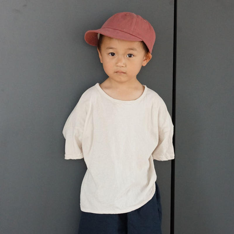 ラウンドヘムTシャツ (ベージュ)