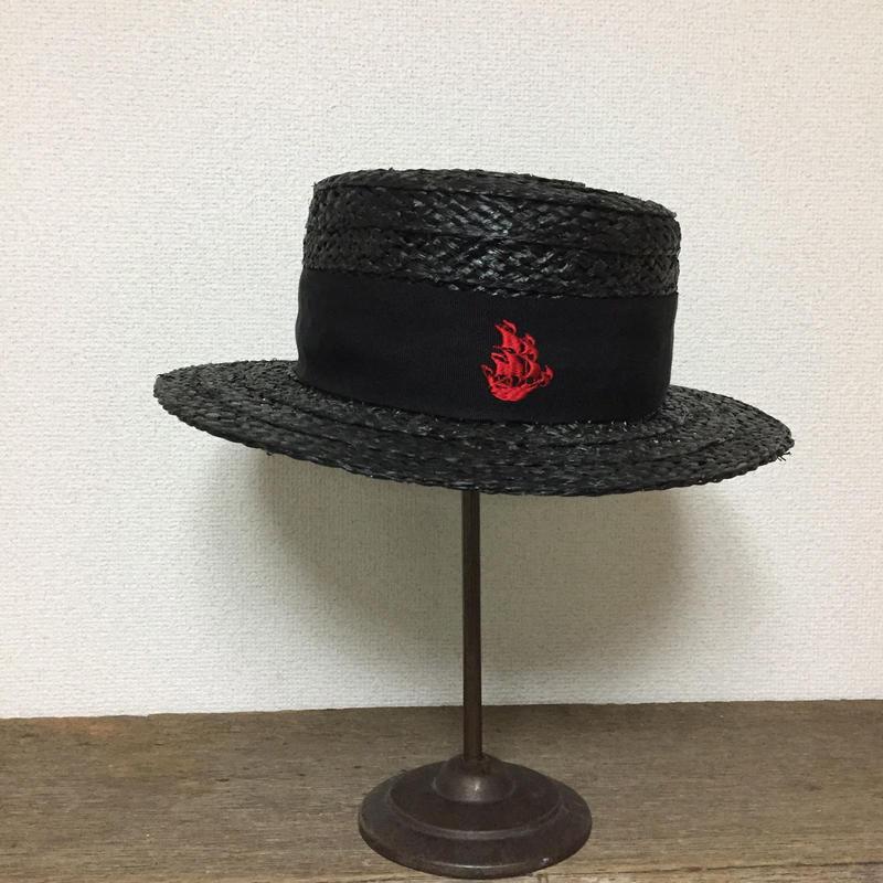 ラフィア 船刺繍カンカン帽 BLK